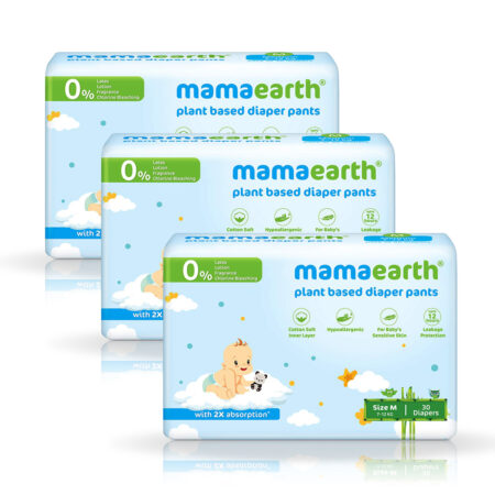 Mamaearth Plant-Based Diaper Pants for Babies – 7-12 kg (Size M – 30 Diapers) Pack of 3
