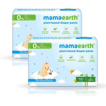 Mamaearth Plant-Based Diaper Pants for Babies – 9-14 kg (Size L – 30 Diapers) Pack of 2