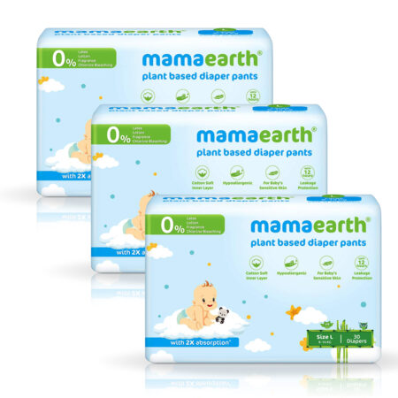Mamaearth Plant-Based Diaper Pants for Babies – 9-14 kg (Size L – 30 Diapers) Pack of 3