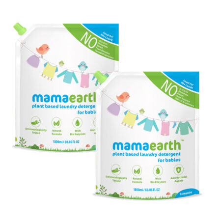Mamaearth Plant based laundry detergent, 1.8L (Saver Pack, get 60% extra) (Pack of 2)
