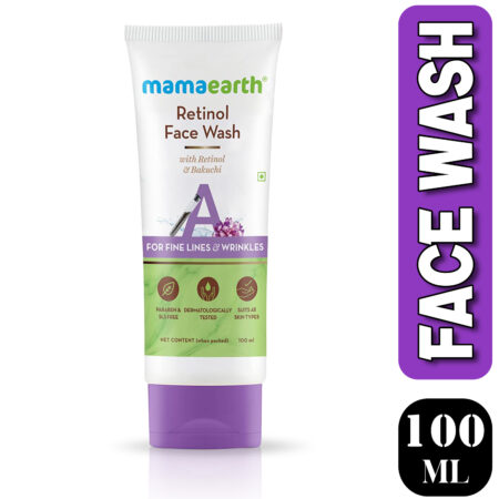 Mamaearth Retinol Face Wash with Retinol and Bakuchi for Fine Lines and Wrinkles, 100ml