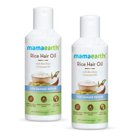 Mamaearth Rice Hair Oil with Rice Bran and Coconut Oil For Damage Repair, 150ml (Pack of 2)