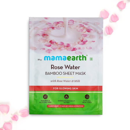 Mamaearth Rose Water Bamboo Sheet Mask with Rose Water and Milk for Glowing Skin, 25g