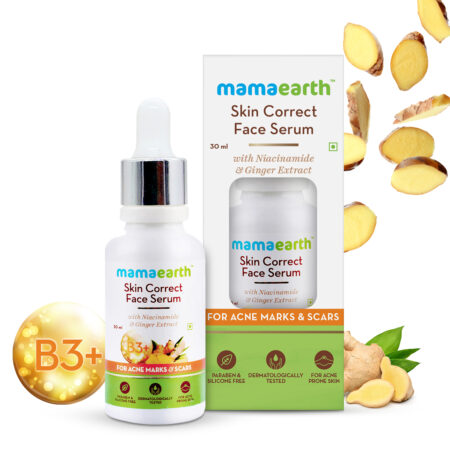 Mamaearth Skin Correct Face Serum with Niacinamide and Ginger Extract for Acne Marks and Scars, 30ml
