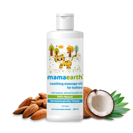 Mamaearth Soothing Massage Oil for Babies with Sesame, Almond and Jojoba Oil, 200ml
