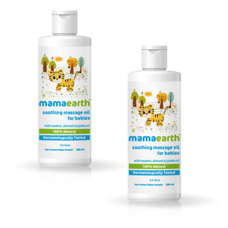 Mamaearth Soothing Massage Oil for Babies with Sesame, Almond and Jojoba Oil, 200ml (Pack of 2)
