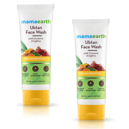 Mamaearth Ubtan Face Wash for Tan Removal, 100ml (Pack of 2)