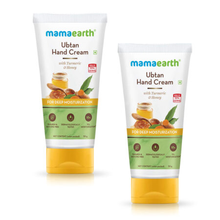Mamaearth Ubtan Hand Cream with Turmeric and Honey for Deep Moisturization, 50g (Pack of 2)